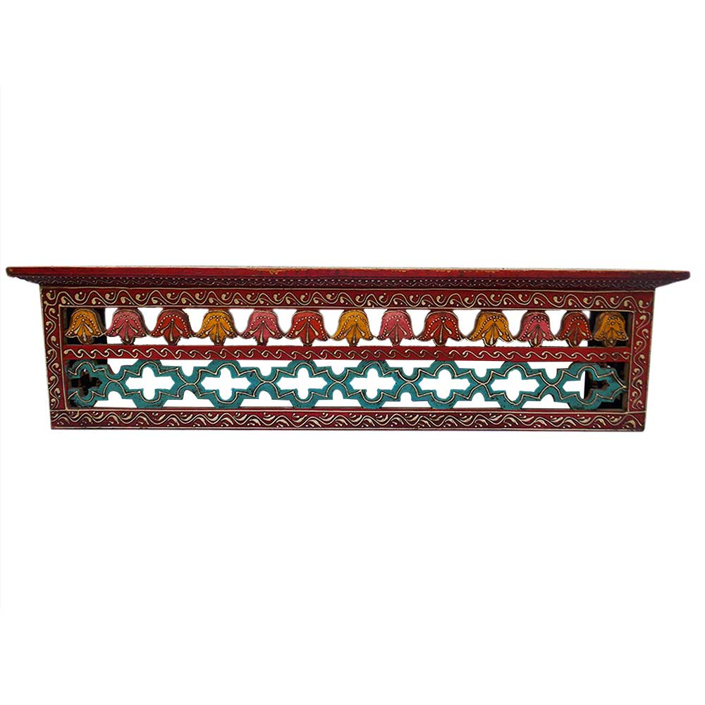Hand Carved Antique Wooden Wall Shelf
