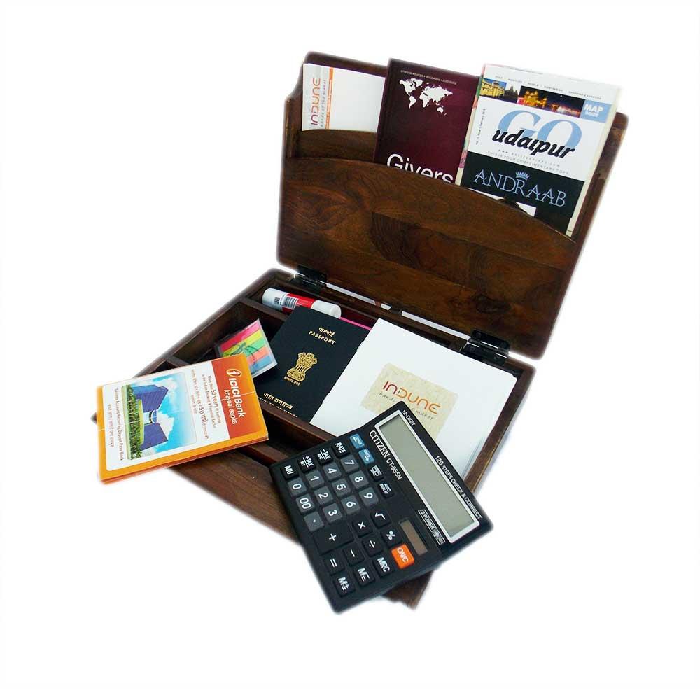 Case of Curiosities - Teak Wood Accessory Box, Home Office Desk Organiser, Trunk